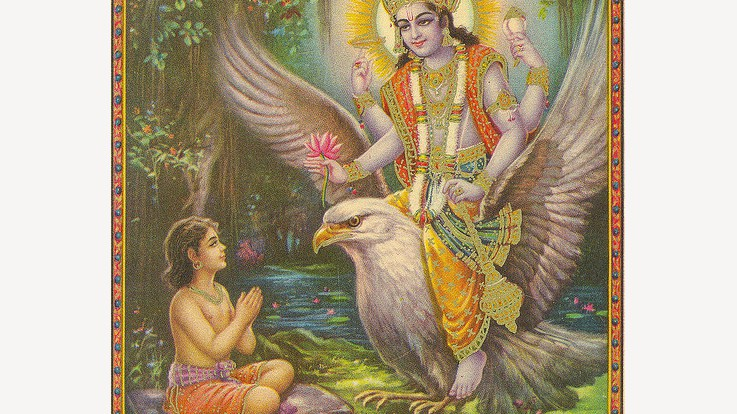 Lord Vishnu appearing before Dhruv