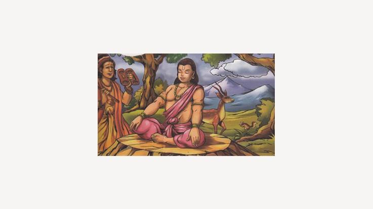 Narad Muni advising Dhruva
