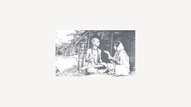 Sudama's wife advising him to seek Krishna's help