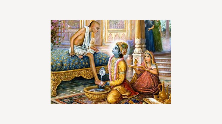 Krishna welcomes Sudama