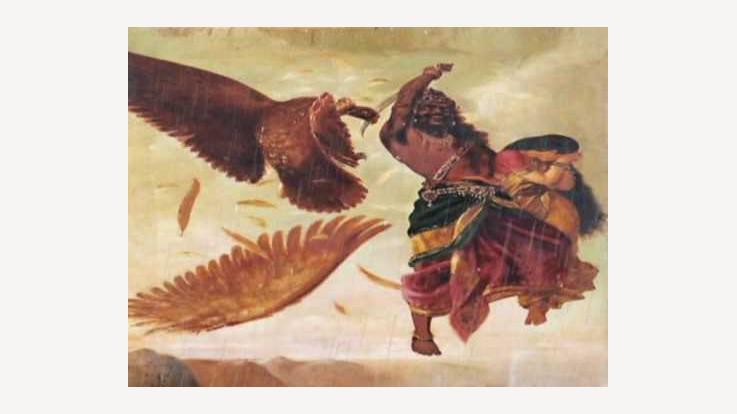 Ravan chopping Jatayu's wings