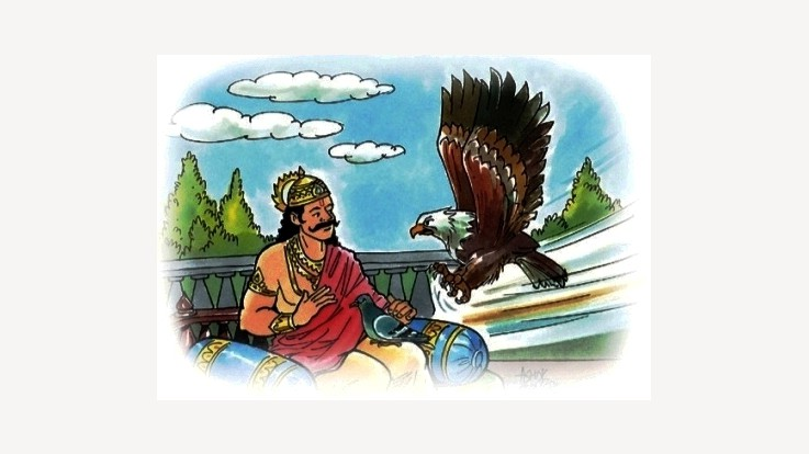 King Shibi with the pigeon and eagle