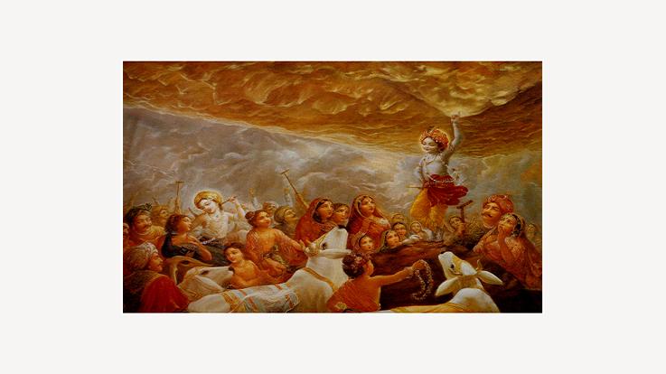 Lord Krishna holding Govardhan parvat