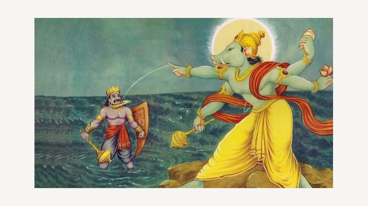 The Battle between Varaha Avatar of Lord Vishnu and Hiranyaksha