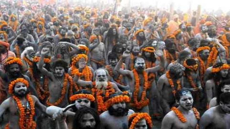Sadhus going to take holy dip